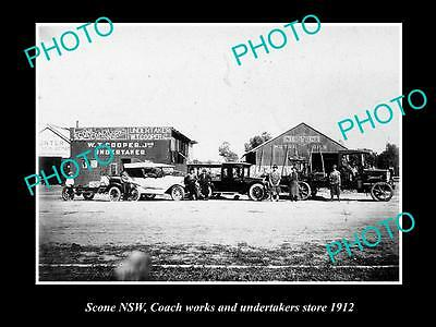 OLD LARGE HISTORICAL PHOTO OF SCONE NSW, THE COACHWORKS FACTORY c1912