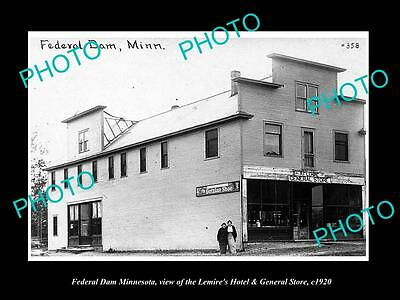 OLD LARGE HISTORIC PHOTO OF FEDERAL DAM MINNESOTA, THE GENERAL STORE HOTEL c1920