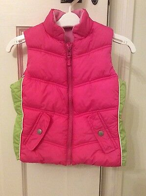 Next girls pink & green padded gilet body warmer fleece lined 3-4 years