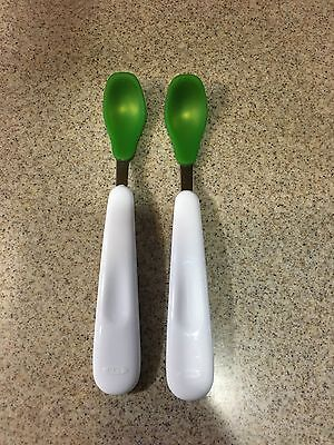 Oxo Tot Feeding Spoon Set with Soft Silicone, Green