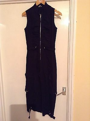 Vintage Jumpsuit Black, 3/4 Trouser, Sleeveless, Zip/gathered Front Size 8/10.