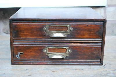 antique vintage oak filing 2 drawer chest with lock & key
