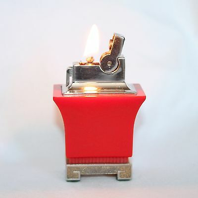 """Vintage ASR  """"Pagoda Style"""" Red Table Lighter In Working Condition"""