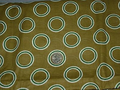 Vtg Fabric Olive Green Background with Abstract White Green Circles 3.5 Yds 42 w