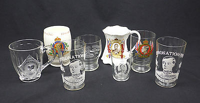 lot King Edward VIII Coronation commemorative drinking glass tankard mug royal