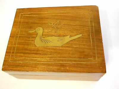 Wood Box with Inlaid Brass Duck - see pics