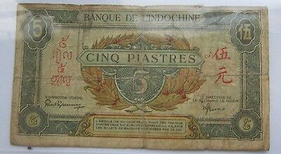 Indochina 5 Piastre Banknote