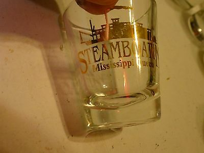 "STEAMBOATIN' MISSISSIPPI QUEEN "" Shot Glass Clear 2 1/4"""