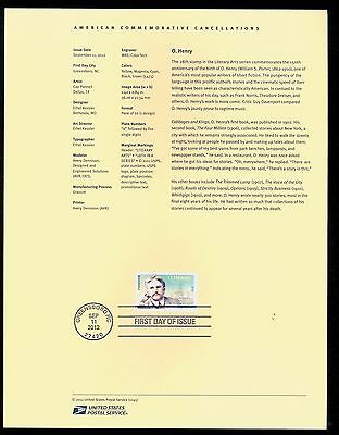 #4705  Forever -  O. Henry Stamp  USPS #1245 Souvenir Page