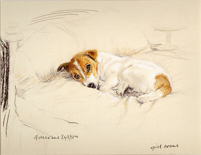 JACK RUSSELL TERRIER DOG LIMITED EDITION PRINT - Artist Proof # 19/85 - On Bed
