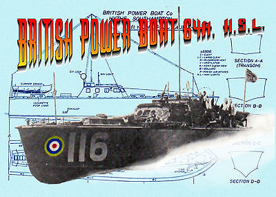 """Build a 32"""" Radio Control BRITISH POWER BOAT 64ft. H.S.LFull size Printed plans"""