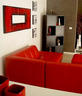 Red Abstract Canvas Painting Original Art Textured 140x60x4cm