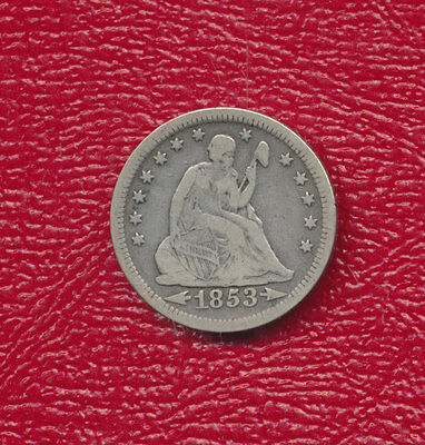1853 Seated Liberty Silver Quarter **nice Circulated Quarter** Free Shipping!