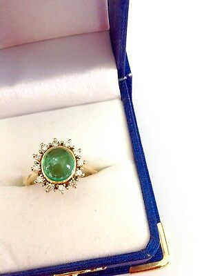 Estate 1.50ct Natural Emerald And Diamond Halo Engagement Ring 14k Yellow Gold