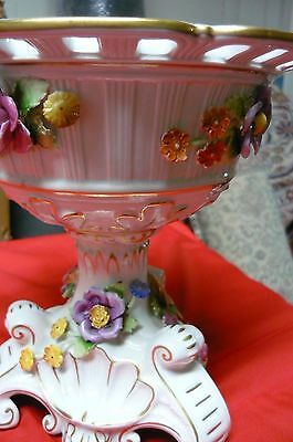 Dresden Handpainted Floral Footed Bowl with Applied Flowers centerpiece