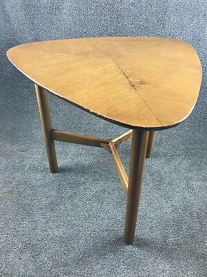 Mid Century Danish Modern 3 Leg Guitar Pick Walnut End Table