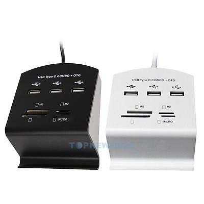 10 In 1 Type-C To USB 2.0 LED Hub Card Reader With Mobile Phone Stand Function