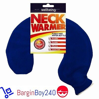 (Blue) New Neck Warmer Hot Water Bottle Bag Fleece Warm Soothing Aching Heat