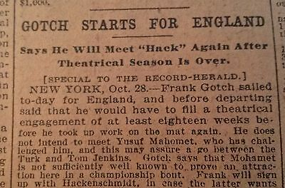 Oct 29, 1908  Newspaper Page #4323- Gotch To Wrestle Hackenschmidt After Tour