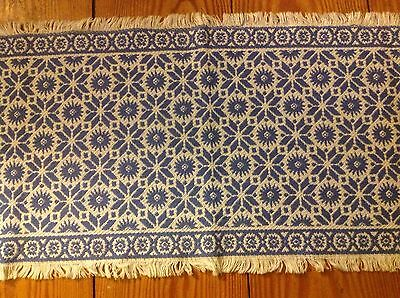 "Vintage Cotton Homespun Table Runner 14"" x 45"""