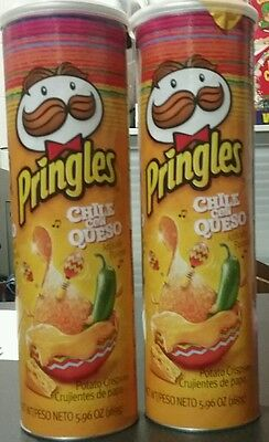 2 x Pringles Chile Con Queso USA chips canisters 169g