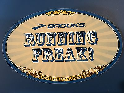 ��  BROOKS RUNNING FREAK SHOES TENNIS ADVERTISING THEMED GLOSSY Decal STICKER ��