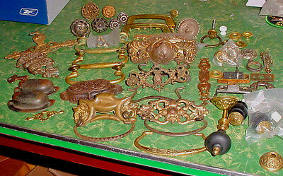 Great Lot Of Antique And Vintage Mostly Brass Drawer Pulls Etc