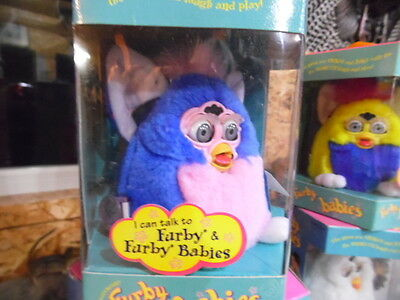 Original Tiger Electronics Furby Baby Blue, Pink chest, Pink Hair, Gray eyes