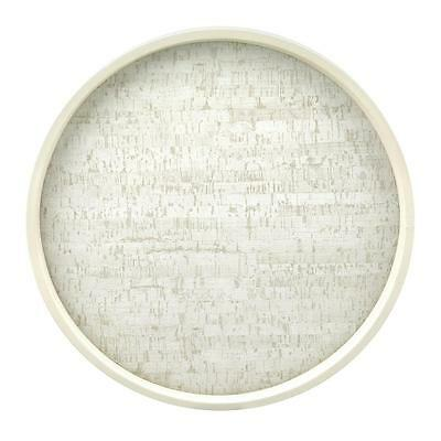 14 in. Round Vinyl Stucco Cork Casual Barware Collections Serving Tray White