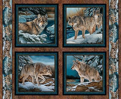 Wolf Fabric Pillow Panel Narragansett Creek Wolves In The Snow Bty Free Shipping