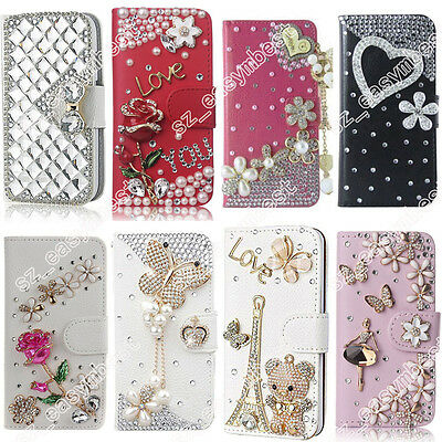 3D Beads Bling Cover Cute Flip Crystal PU Leather Wallet Magnetic Diamond Case