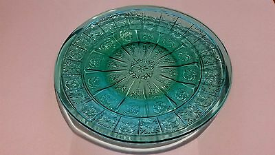 "Teal Ultramarine Doric & Pansy 6"" Bread / Pie Plate"