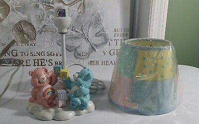 new w/o box vintage Care Bears baby blocks pastel nursery lamp