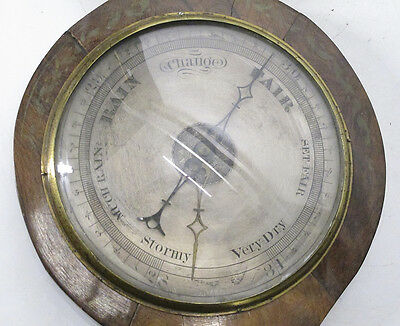 Antique 19th C Hand Painted Wood Weather Station Wall Barometer &Thermometer yqz