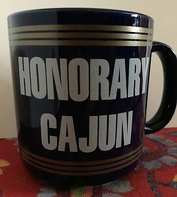 VTG 1989 Louisiana Honorary Cajun Coffee Mug Cup State Seal Checklist EUC