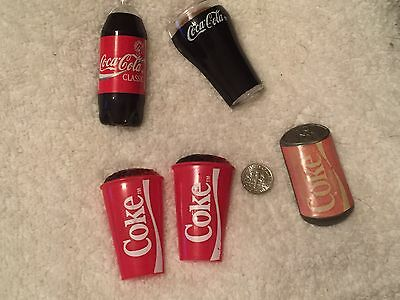 Vintage Coca Cola Glass & Coke Drink Cup, 2 Liter Bottle, And Can Magnets 1990's
