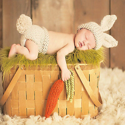 Baby Infant Newborn Animal Knit Costume Photography Prop Crochet Hat Outfits Set
