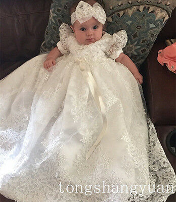 Bling Beaded Baptism Gowns Lace Applique White Ivory Christening Dresses Newest