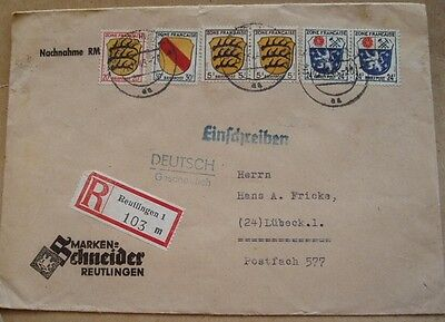 1946 Lubeck Germany registered cover French Zone stamps Schneider