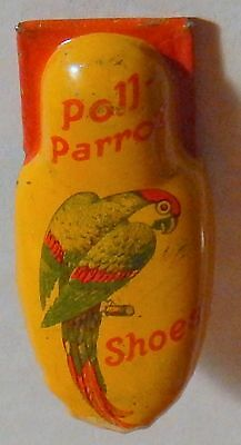 Kirshhof Poll Parrot Shoes Tin Litho Clicker Advertising Premium