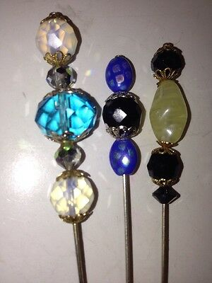 Victorian Inspired Glass Beaded Stick Pin Hat Pin Lot #D115
