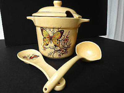 MINT Vintage Butterfly 4 Pc. Set California Pottery Treasure Craft Soup Tureen