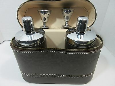 Vintage Whisky Cognac Leather Glass Chrome Travelling Bar Case 2 Decanters Cups
