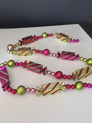 """Candy Garland Christmas Tree Decoration 62"""" Pink Red Green Blue Shiny Ornament"""