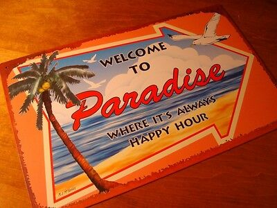 WELCOME TO PARADISE WHERE IT'S ALWAYS HAPPY HOUR Rustic Beach Bar Palm Tree Sign