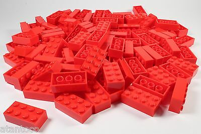 LEGO Red Brick 2x4 - Brand New (Lot of 100 Pieces)
