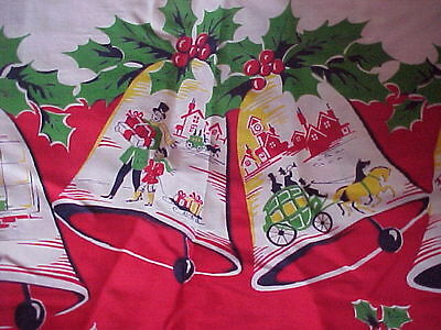 Vintage Christmas material fabric Bells 3 yards Cotton