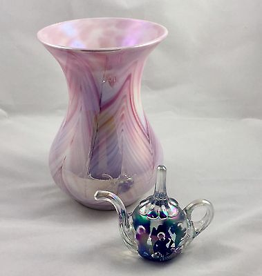 Large Pink Gibson Glass Pulled Feather Art Glass Vase Dated 1990