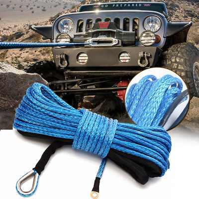 1/4'' x 50' 7700LBs Synthetic Winch Line Cable Rope with Sheath ATV UTV Blue