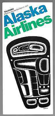 ***1977 Alaska Airlines System Timetable - January 9 to April 3, 1977***